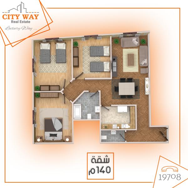 شقة 140م بموقع تحفة ومميز جدا باللوتس الشمالي بالتجمع الخامس